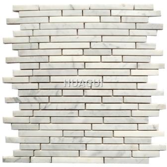 Marble Mosaic Tile in Sebastian Grey Marble Mosaic Tile in Gray Wall Backsplash