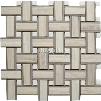 Linear Random Size Marble Mosaic Tile in White/Brown Basket Weaving Design
