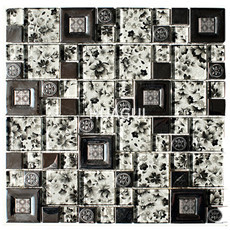 Flower Pattern Random Sized Metal Mixed  Glass Mosaic Tile in Silver Home Decoration