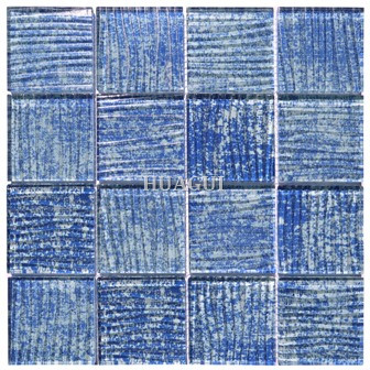 Russia hand brushing waving blue glass mosaic Bedrosians Tile supplier