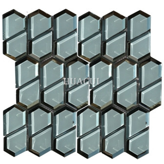 Hexagon Glass Mosaic Tile for Home Decoration Wall Backsplash Tile Light Blue