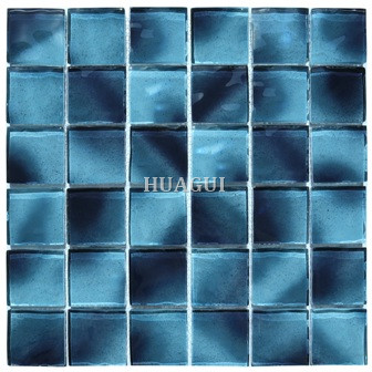 Walmart Blue Mosaic 2 inch by 2 inch Glossy Pool Rated Glass Mesh Mounted Decorative Bathroom Wall Backsplash Tile