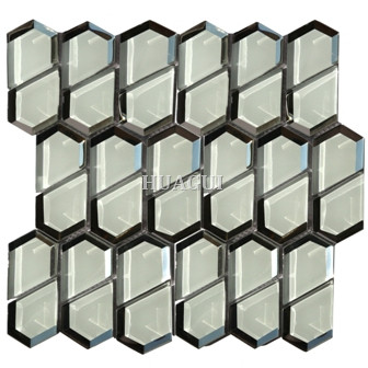 China factory glass mosaic tile in grey Diamond shape for shower room decoration Eleganza Tile supplier