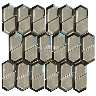 Honeycomb shape glass mosaic tile home decoration for wall panel Mission tile supplier