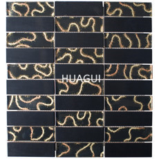 Persia Style Black Metal Peel & Stick Mosaic Tile Patterned Rectangle Shape for Wall Panel