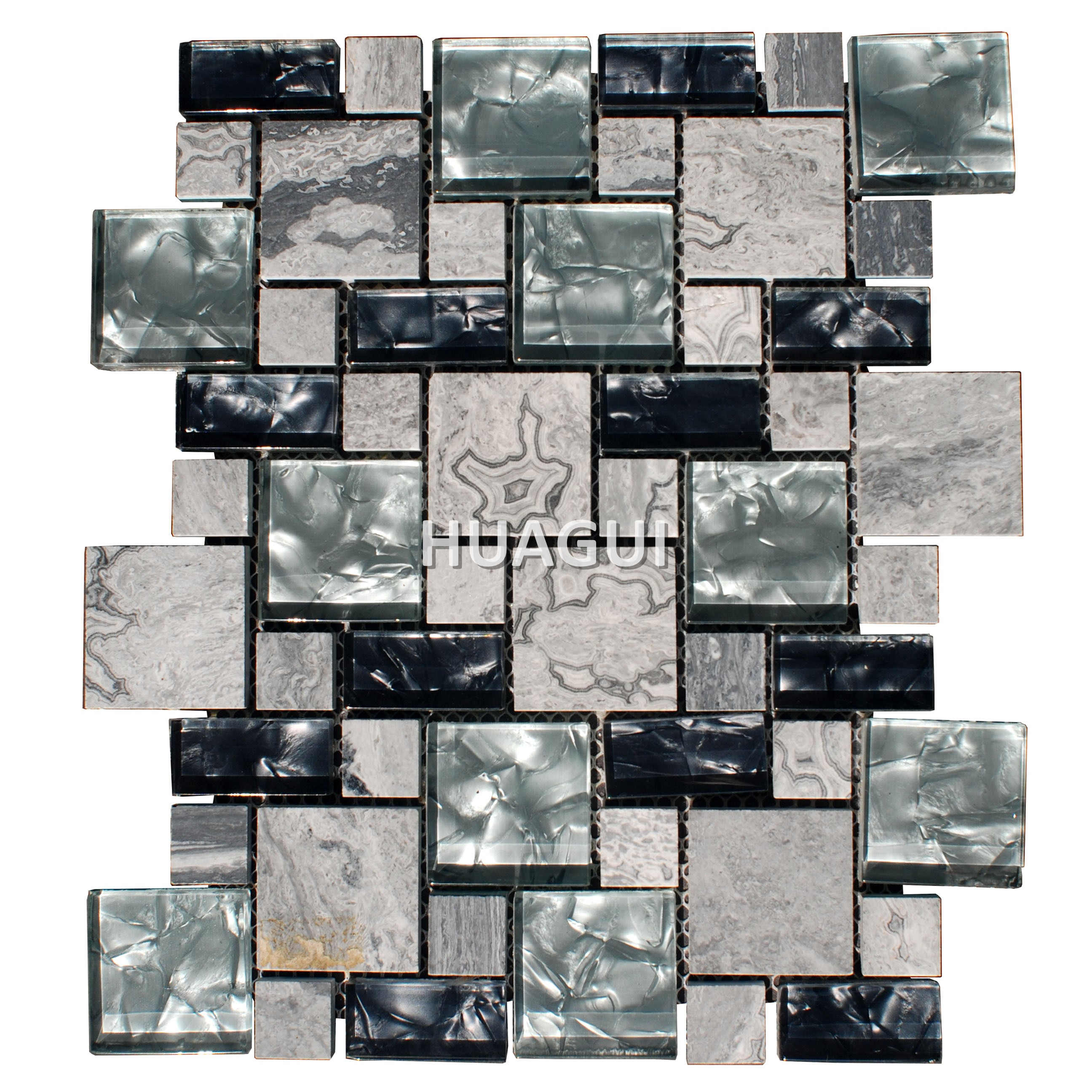 Porcelain Look Wood Grain Tile in Grey Glass Mosaic Tile