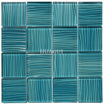 Aqua blue wave swimming pool glass mosaic tiles for hotel