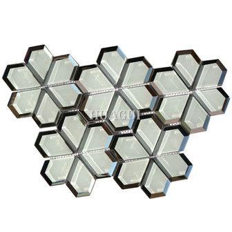 Flower Pattern super white Glass Mosaic Tile in Grey Color Nemo Tile supplier