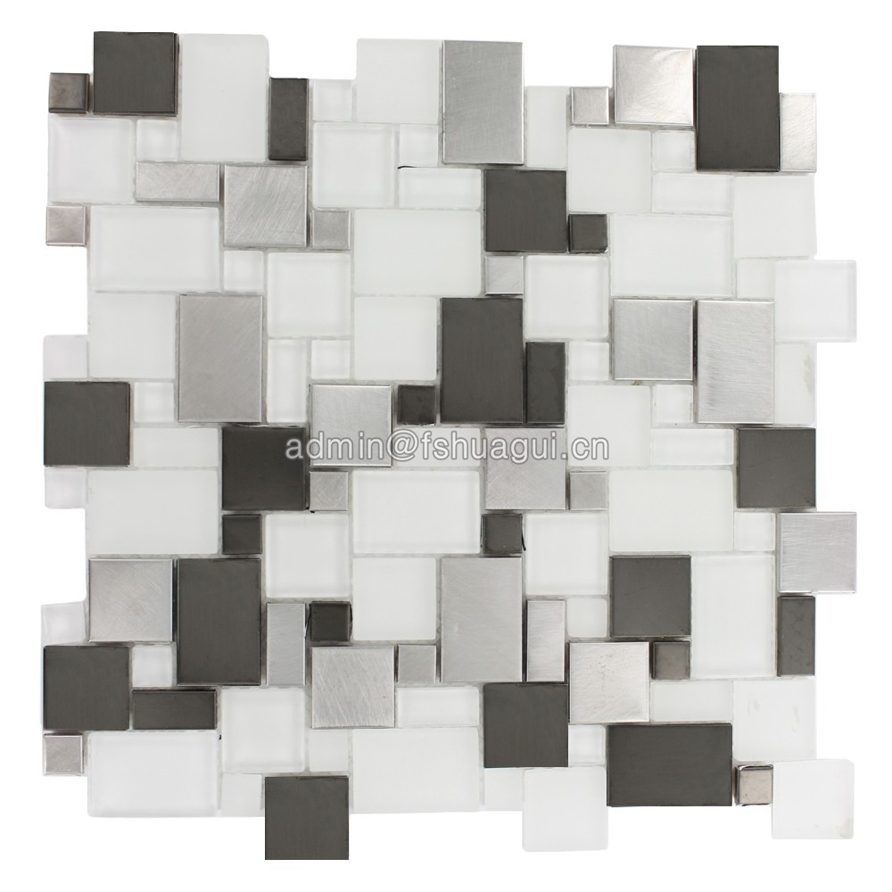 Black metal mix ultra white glass mosaic kitchen decor tile